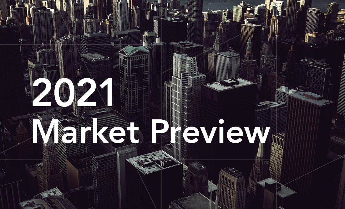 "Graphic of darkened photo of city buildings, with guidance pattern overlay and ""2021 Market Preview"" in white."