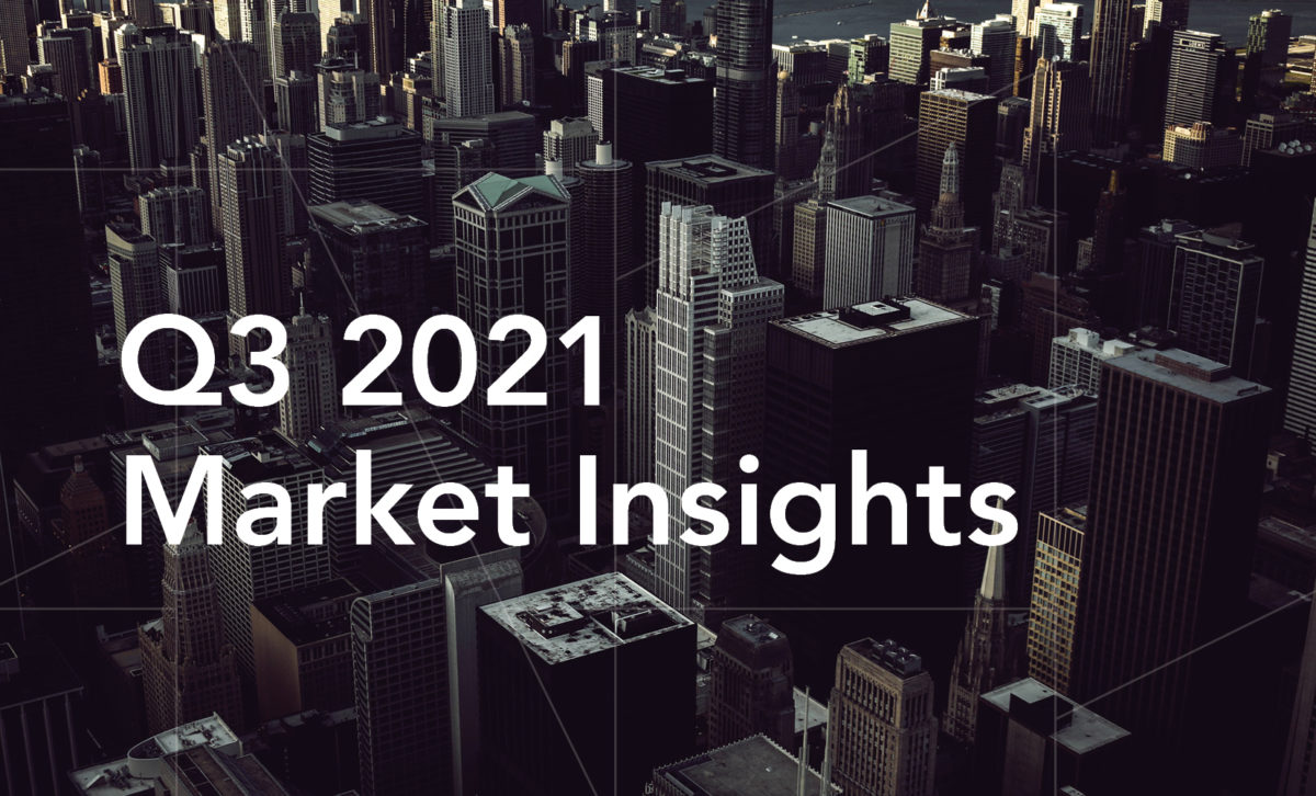 """Graphic of darkened photo of city buildings, with guidance pattern overlay and """"Q3 2021 Market Insights"""" in white."""